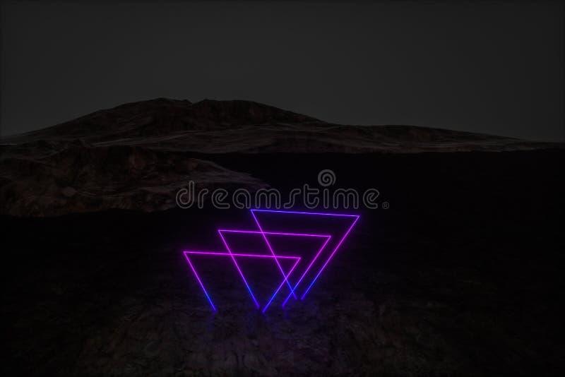 färgrika glödande linjer med mörk bergbakgrund, tolkning 3d stock illustrationer