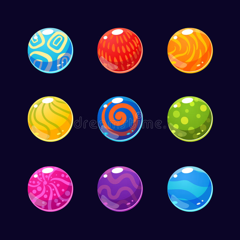 Färgrika glansiga stenar och knappar med mousserar vektor illustrationer