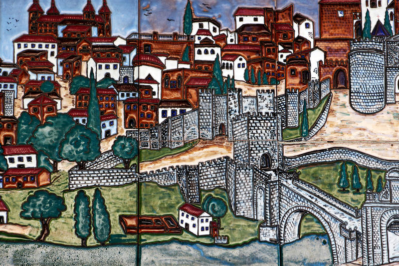 Färgrika glasade tegelplattor, staden av toledo, Spanien arkivfoton