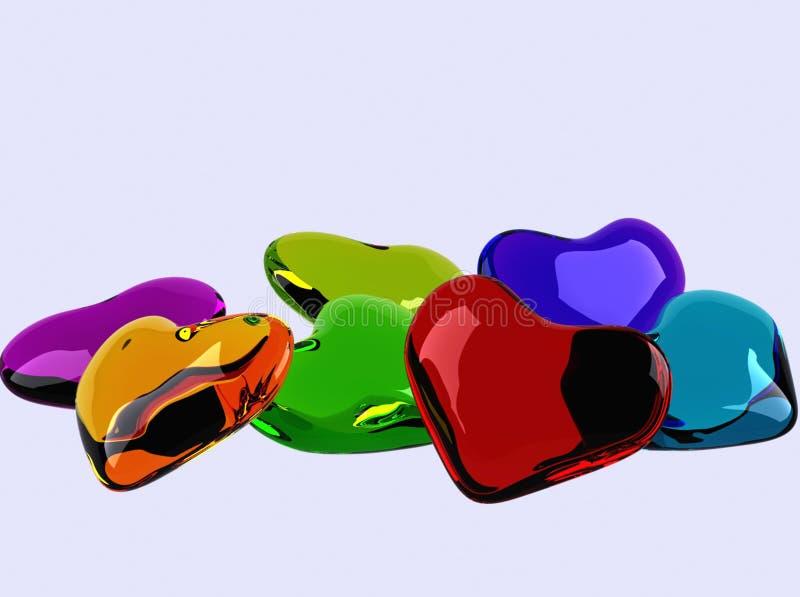 färgrika glass hjärtor stock illustrationer