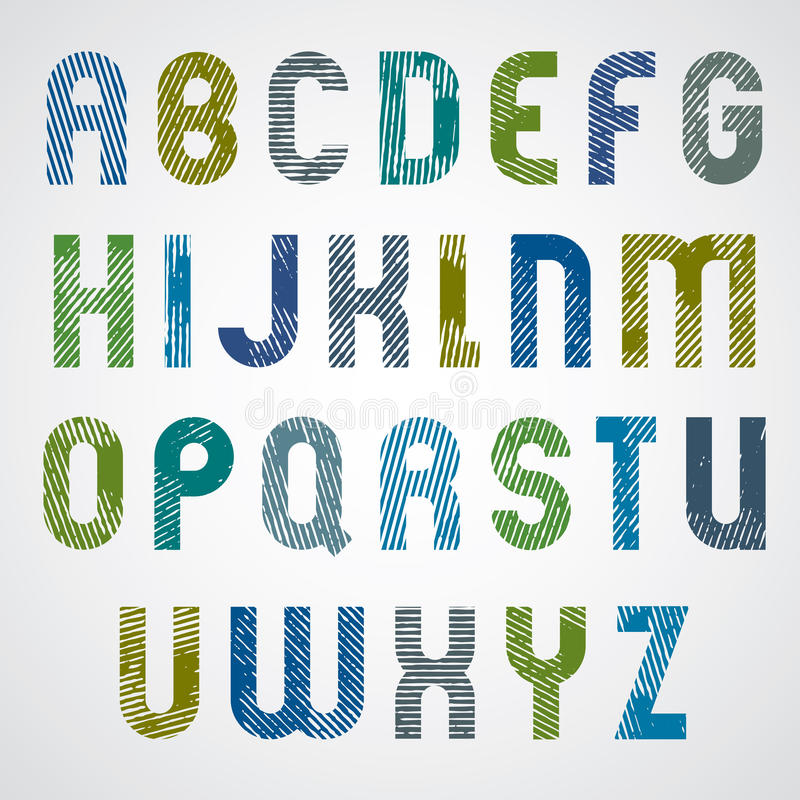 Färgrika gnidna stora bokstäver för Grunge, dekorativ stilsort på wh vektor illustrationer