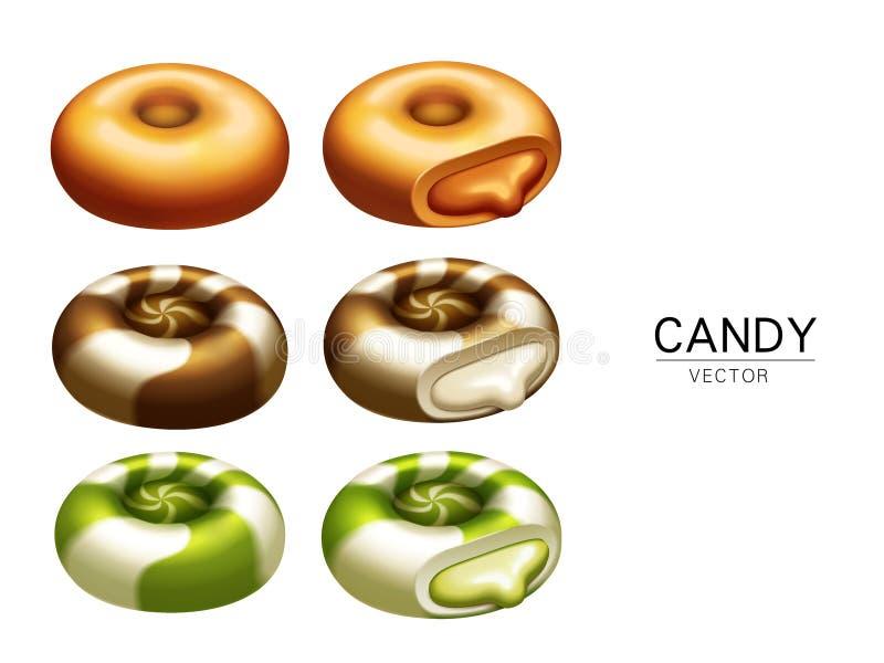 Färgrika godisbeståndsdelar royaltyfri illustrationer