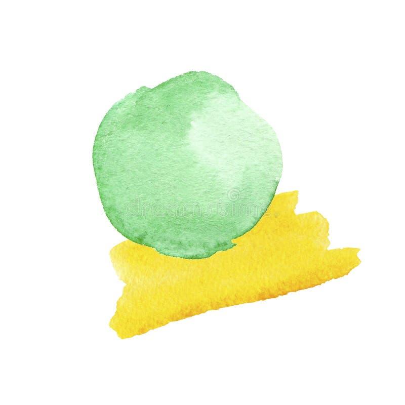 Färgrika gröna och gula vattenfärgtexturer på vitbokbakgrund Hand m?lad abstrakt illustration vektor illustrationer