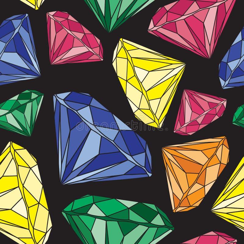 Färgrika grafiska Diamond Design på svart bakgrund seamless modell vektor illustrationer