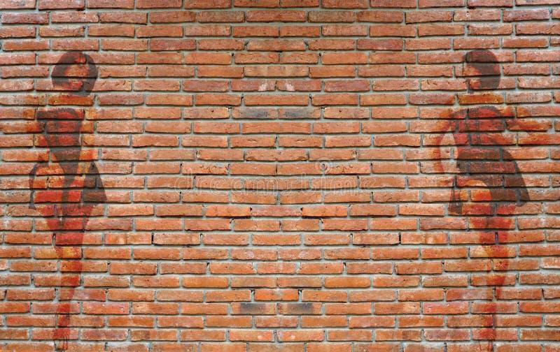 Färgrika grafitti på den utomhus- tegelstenväggen arkivfoton