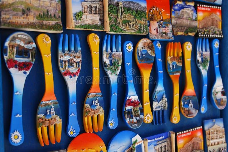 färgrika greece souvenir royaltyfria foton