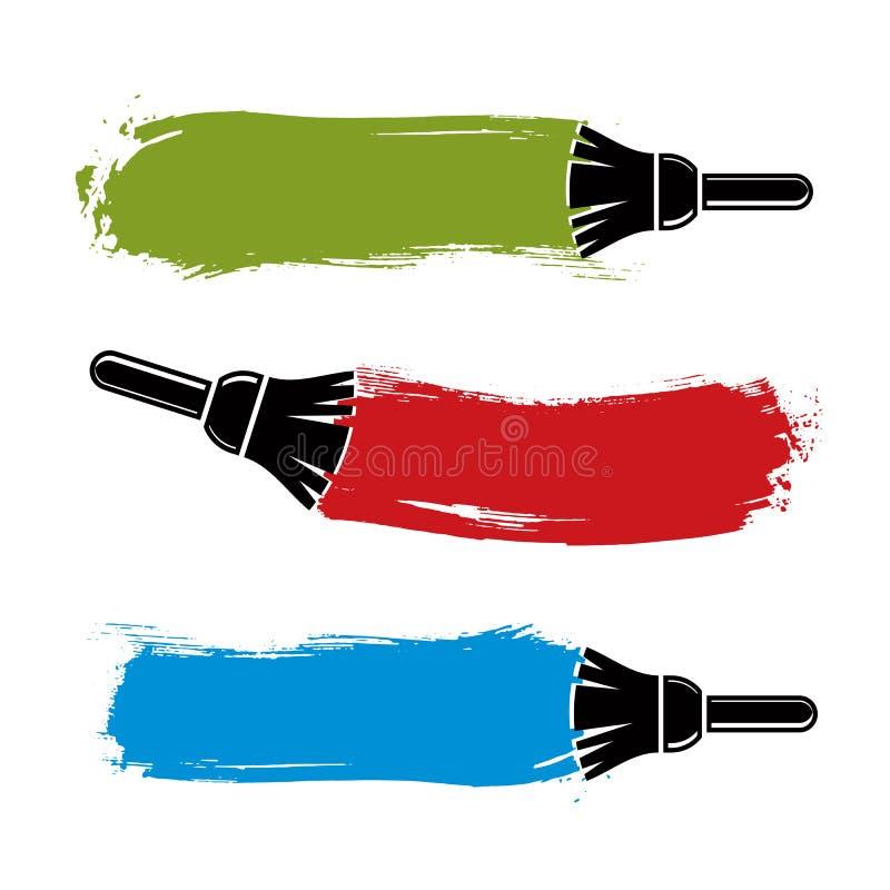 Färgrika grungepenseldrag, akrylprövkopior som skapas med målarfärg vektor illustrationer