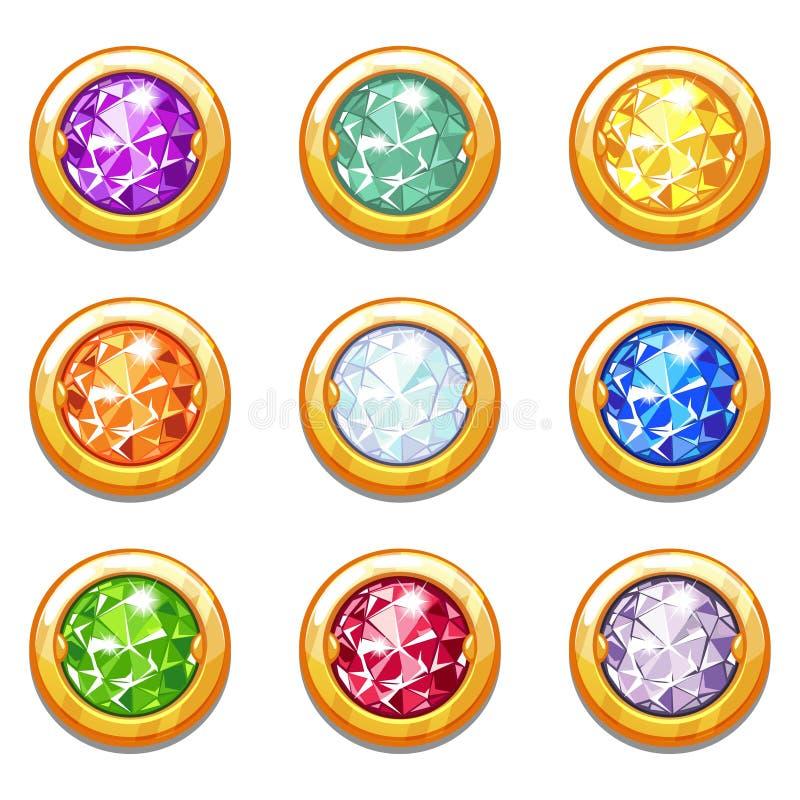 Färgrika guld- amuletter för vektor med diamanter royaltyfri illustrationer