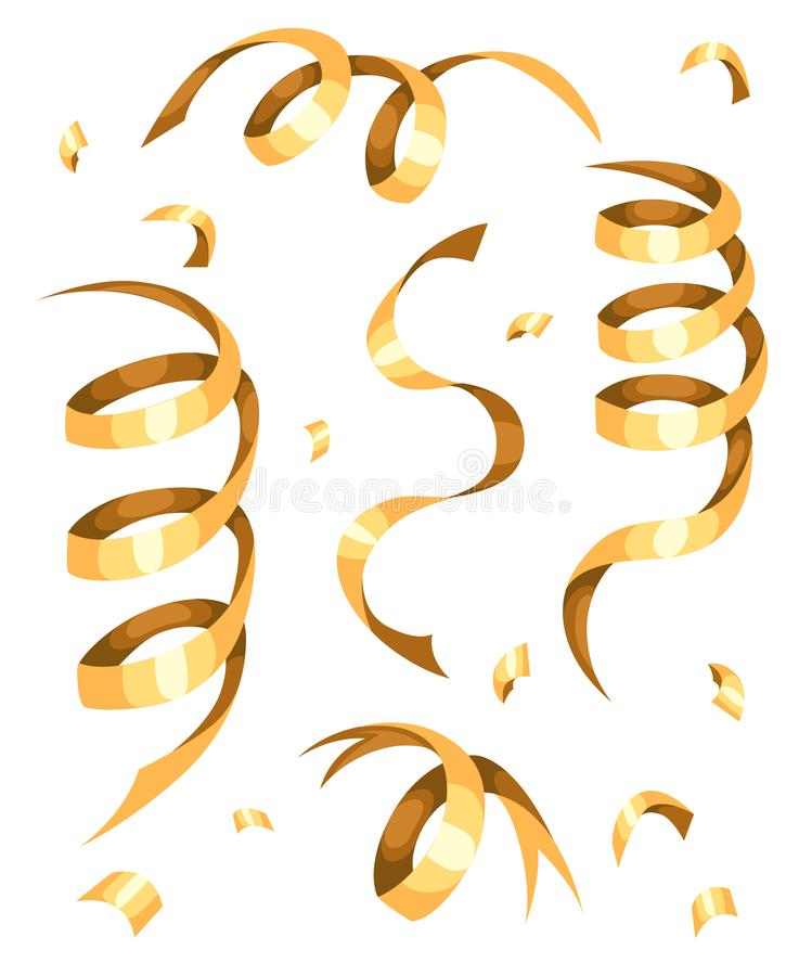 Färgrika guld- konfettier Festlig illustration för vektor av fallande skinande konfettier som isoleras på genomskinlig rutig bakg royaltyfri illustrationer