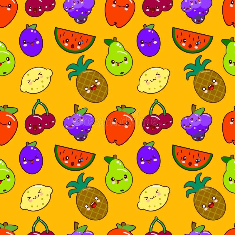 Färgrika gulliga frukttecken Kawaii för sömlös modell äpple päron, jordgubbe, apelsin, banan, vattenmelon, ananas stock illustrationer