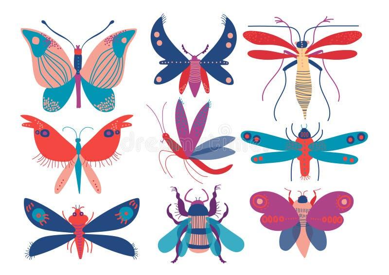 Färgrika gulliga kryp uppsättning, fjäril, skalbagge, fel, mygga, mal, slända, vektorillustration för bästa sikt royaltyfri illustrationer
