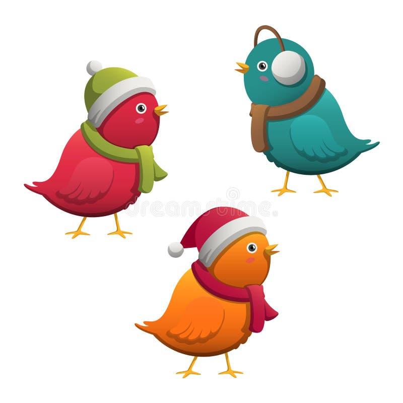 Färgrika gulliga små tecknad filmvinterfåglar stock illustrationer