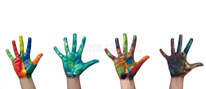 färgrika händer royaltyfria bilder