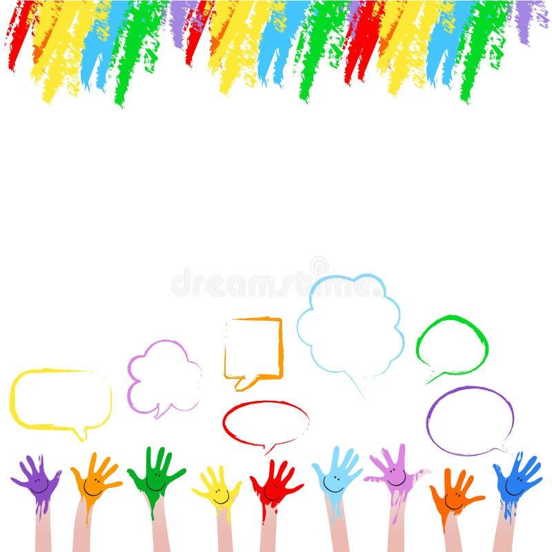 färgrika händer royaltyfri illustrationer