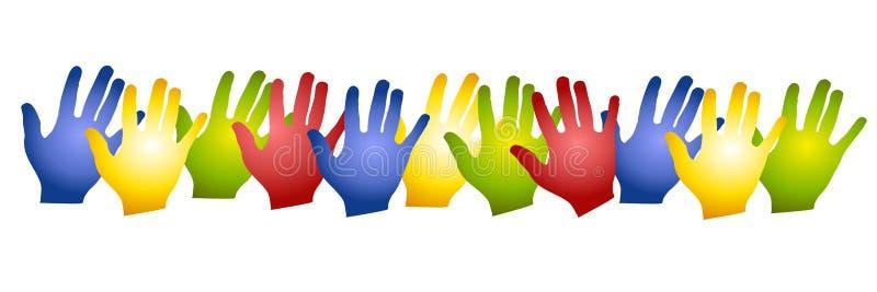 färgrika händer row silhouettes vektor illustrationer