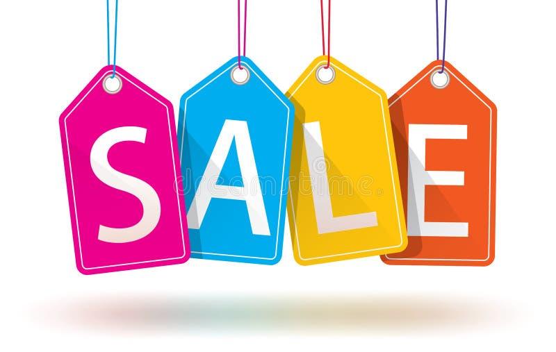 färgrika hängande försäljningsetiketter royaltyfri illustrationer