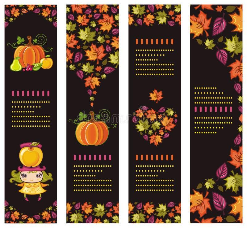 färgrika höstliga baner royaltyfri illustrationer