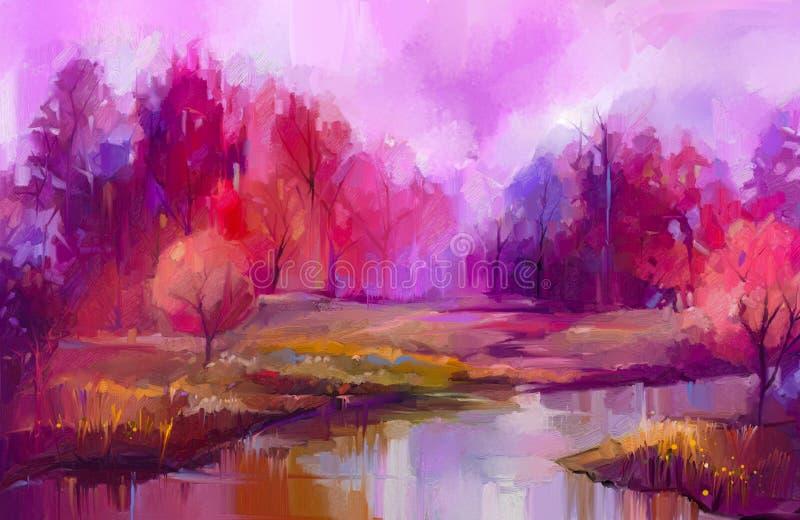 Färgrika höstträd för olje- målning Halv abstrakt bild av skogen, asp- träd med guling - rött blad och sjön stock illustrationer