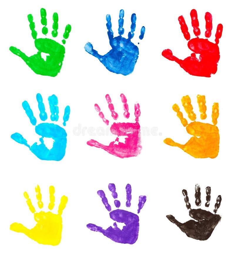 färgrika handtryck vektor illustrationer