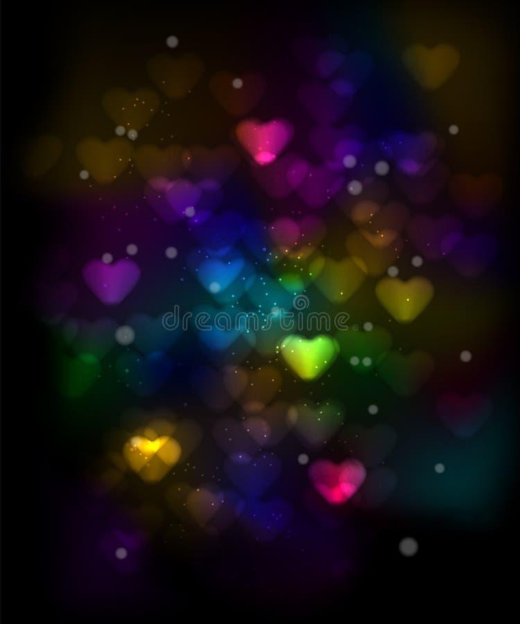 Färgrika hjärtor Bokeh på en mörkerbakgrund royaltyfri illustrationer