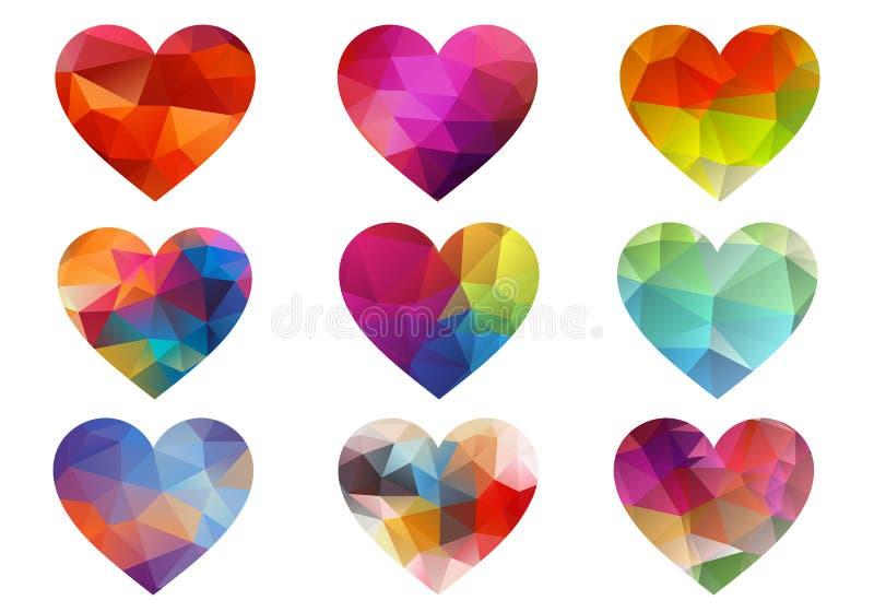 Färgrika hjärtor med den geometriska modellen, vektor vektor illustrationer