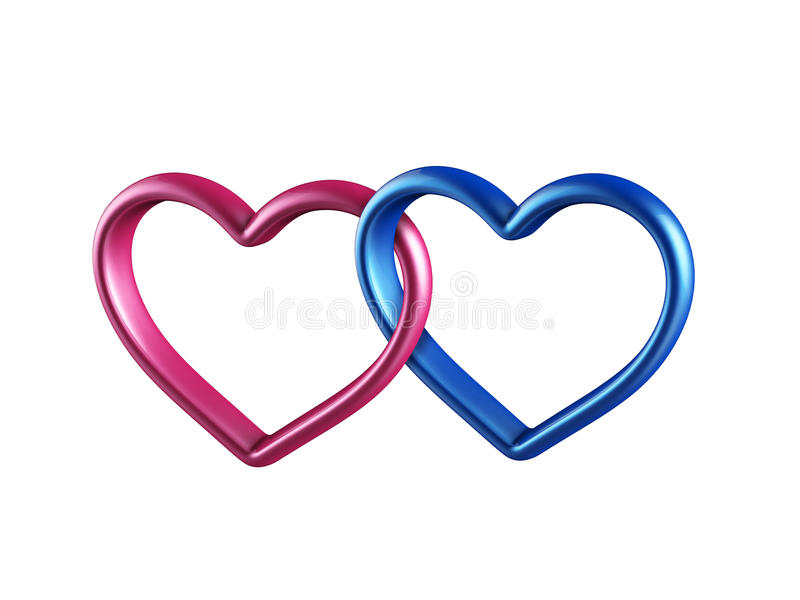 färgrika hjärtor som 3d tillsammans anknytas stock illustrationer