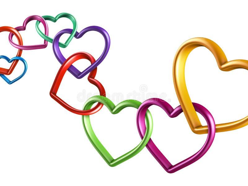 färgrika hjärtor som 3d tillsammans anknytas vektor illustrationer
