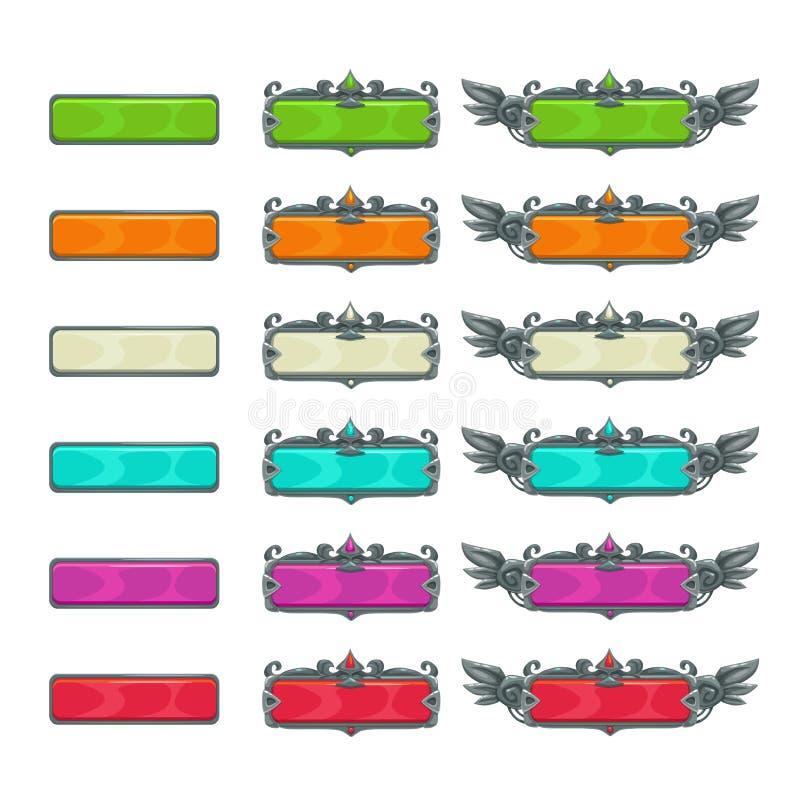 Färgrika horisontalknappar för lek eller rengöringsdukdesign royaltyfri illustrationer