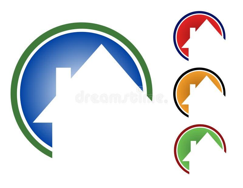 färgrika hus för cirkel stock illustrationer