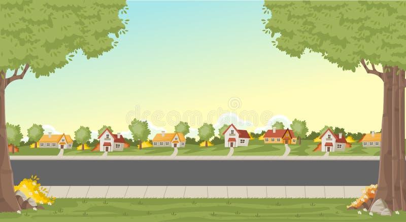 Färgrika hus i förortgrannskap stock illustrationer
