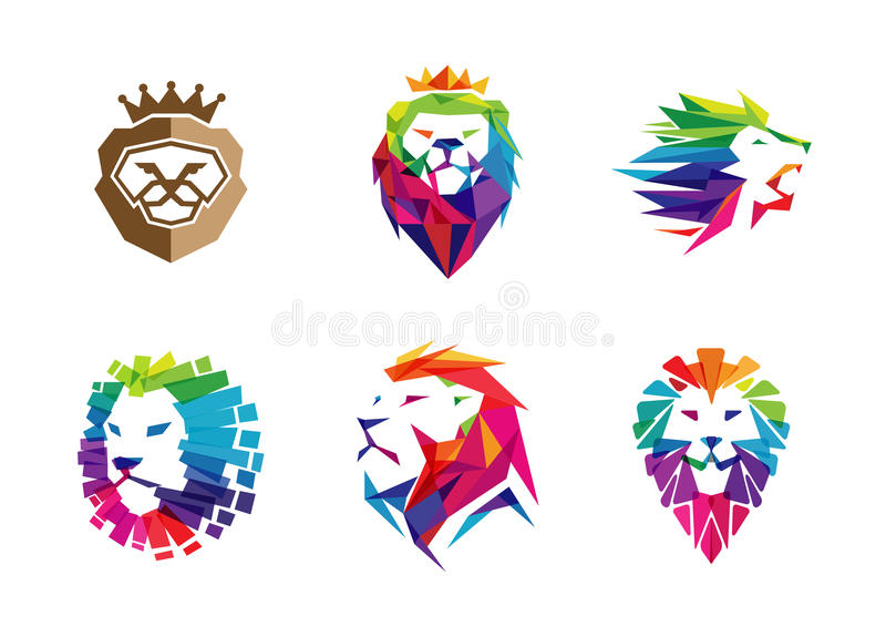 Färgrika idérika Lion Head Logo Symbol Design vektor illustrationer