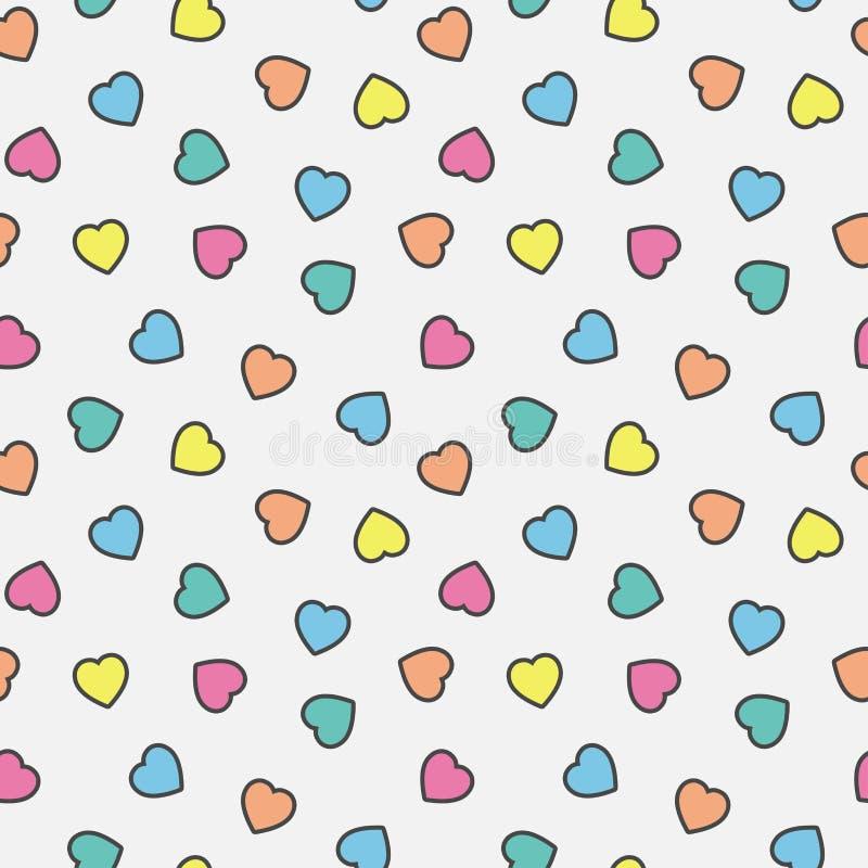 Färgrika illustrationhjärtor mönstrar sömlös bakgrund stock illustrationer