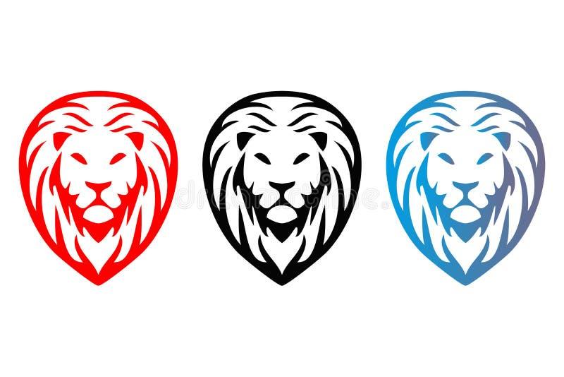 Färgrika isolerade lejonhuvud för träd stock illustrationer