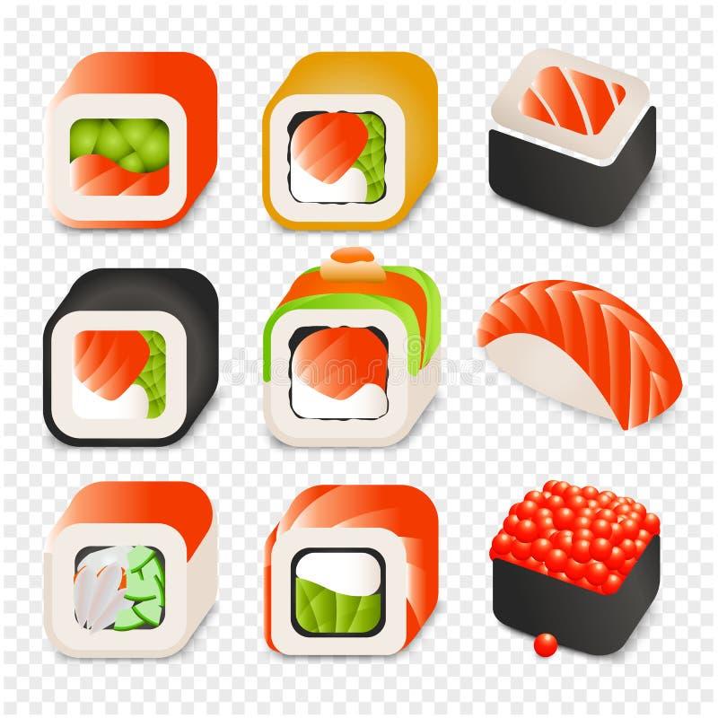 Färgrika japanska symboler för design för mattecknad filmstil ställde in med den olika sushi och rullar på isolerad genomskinlig  vektor illustrationer