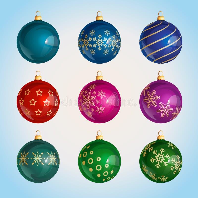 Färgrika julbollar för exponeringsglas med julprydnaden stock illustrationer