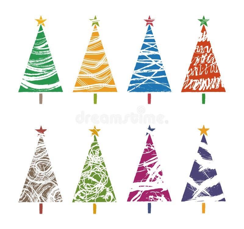 Färgrika julgransamlingar, grafiska beståndsdelar royaltyfri illustrationer