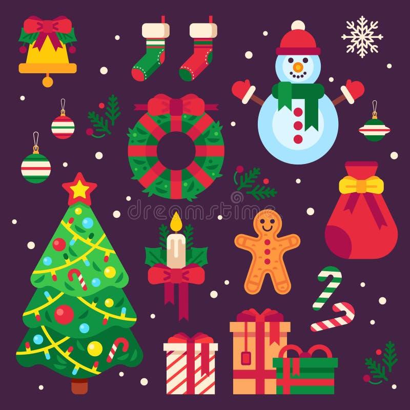 Färgrika julobjekt Xmas-strumpan, girland tänder för granträd och jultomtengåvor Dekor för krans för vinterferier vektor illustrationer