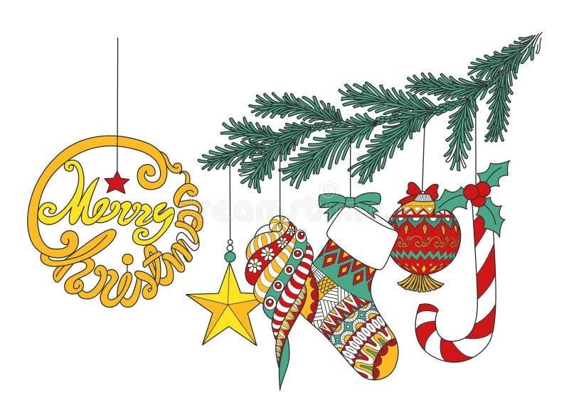 Färgrika julornamentals som hänger på julgranfilialen för designbeståndsdel också vektor för coreldrawillustration royaltyfri illustrationer