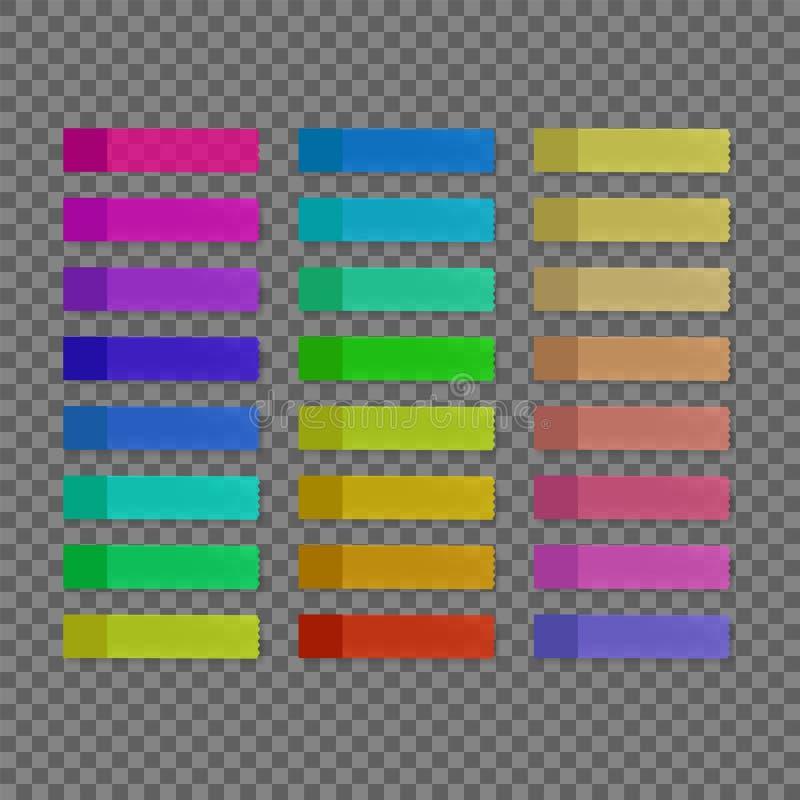 Färgrika klibbiga anmärkningar för vektor stock illustrationer