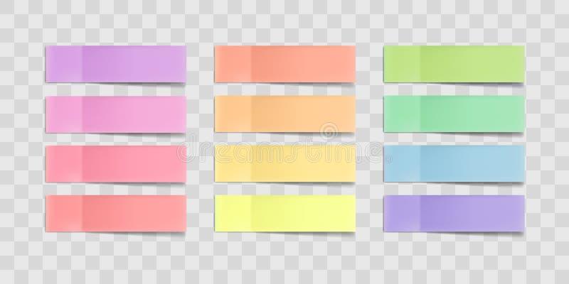 Färgrika klibbiga anmärkningar för vektor, klistermärkear med skuggor som isoleras på en genomskinlig bakgrund Flerfärgad pappers stock illustrationer