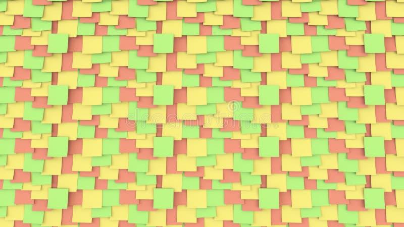 Färgrika klibbiga anmärkningar på brädet Begrepp för kontorsarbete eller påminnelse framförande 3d arkivbild