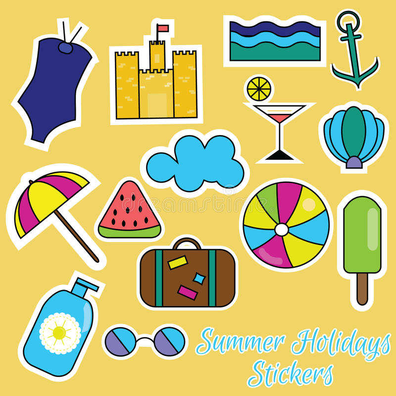 Färgrika klistermärkear för sommarferier royaltyfri illustrationer
