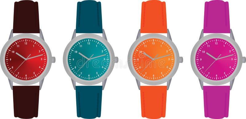 Färgrika klockor, fyra olika färger vektor illustrationer