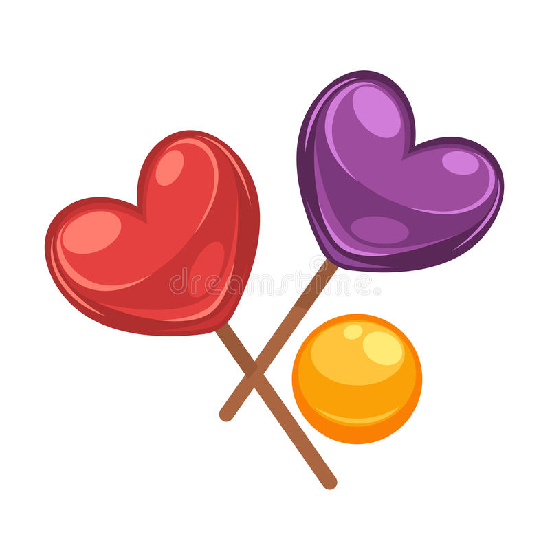 Färgrika klubbagodisar ställde in i former av hjärta och cirkeln stock illustrationer