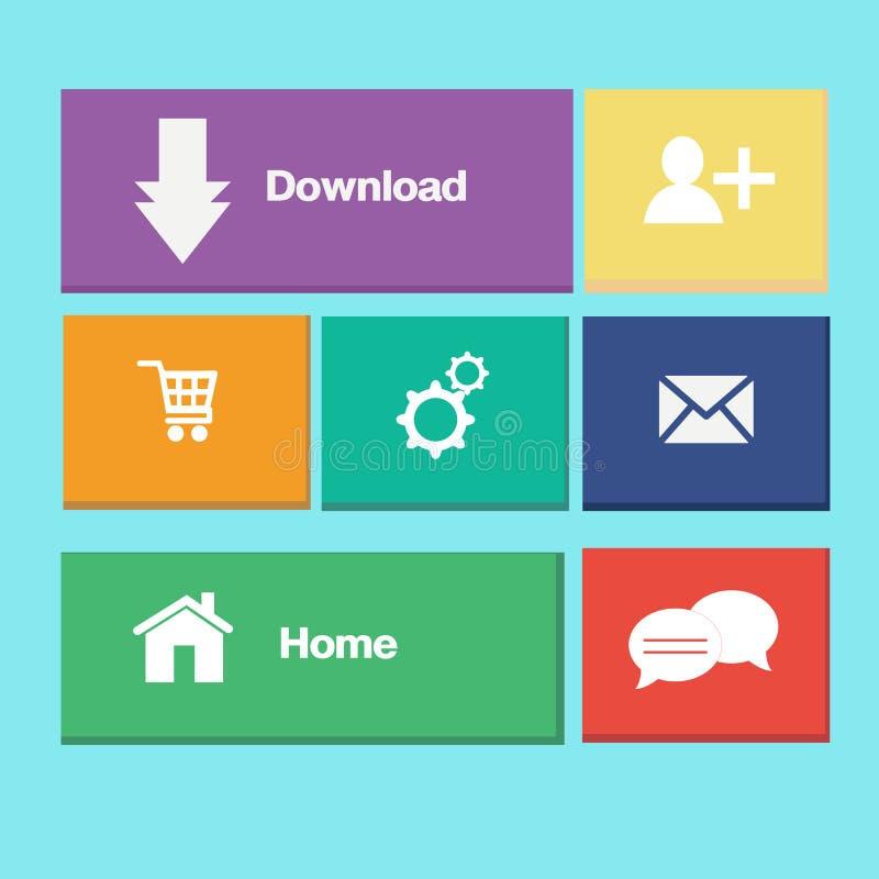 Färgrika knappar för symboler på mobil applikation royaltyfri illustrationer
