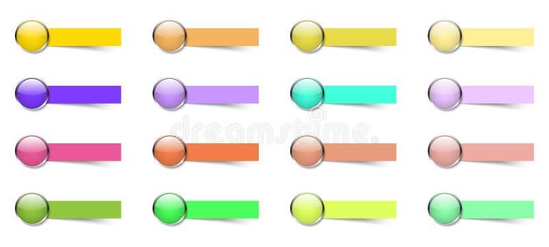 16 färgrika knappar med klibbiga anmärkningar arkivbilder