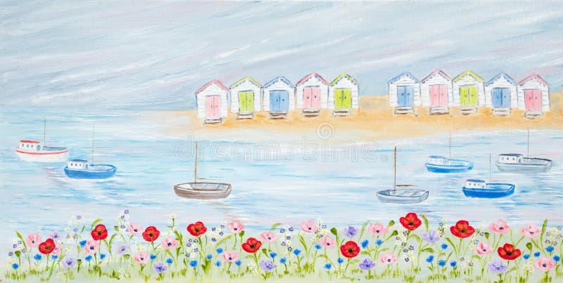 färgrika kojor för strand royaltyfri illustrationer