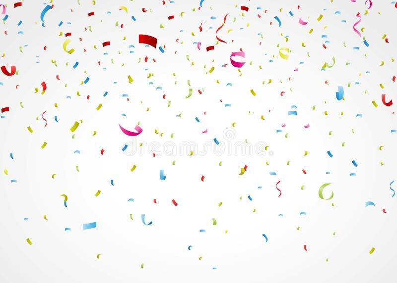 Färgrika konfettier på vit bakgrund royaltyfri illustrationer