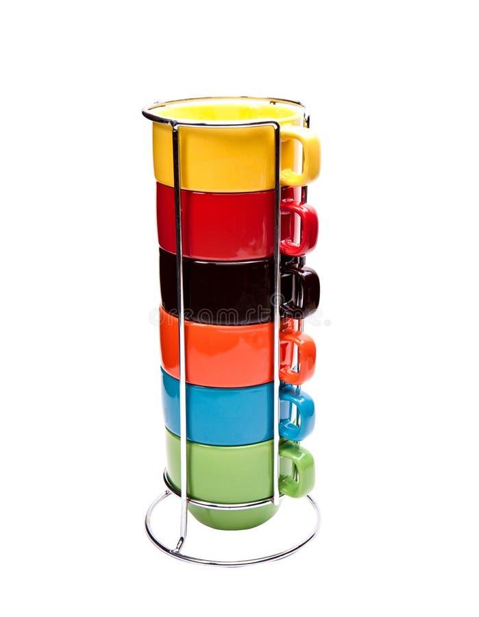 färgrika koppar för kaffe arkivbild