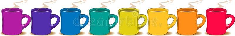 färgrika koppar för kaffe stock illustrationer